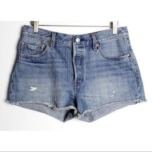 Levi's 501 Button Fly High Waist Cut off Shorts